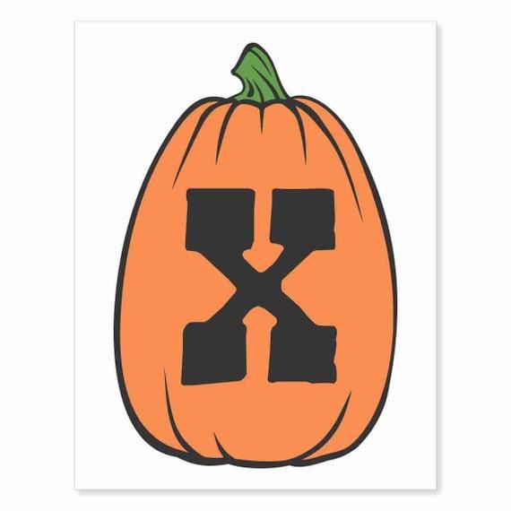 Printable Digital Download DIY - Fall Art Monogram Pumpkin - TALL X - Print frame or cut out for seasonal Halloween decorating orange black