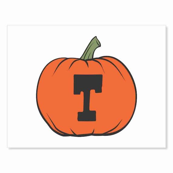 Printable Digital Download DIY - Fall Art Monogram Pumpkin - rOund T - Print frame or cut out for seasonal Halloween decorating orange black