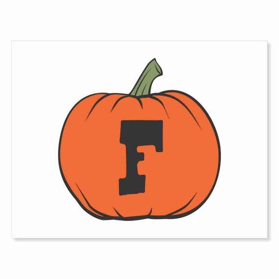Printable Digital Download DIY - Fall Art Monogram Pumpkin - rOund F - Print frame or cut out for seasonal Halloween decorating orange black