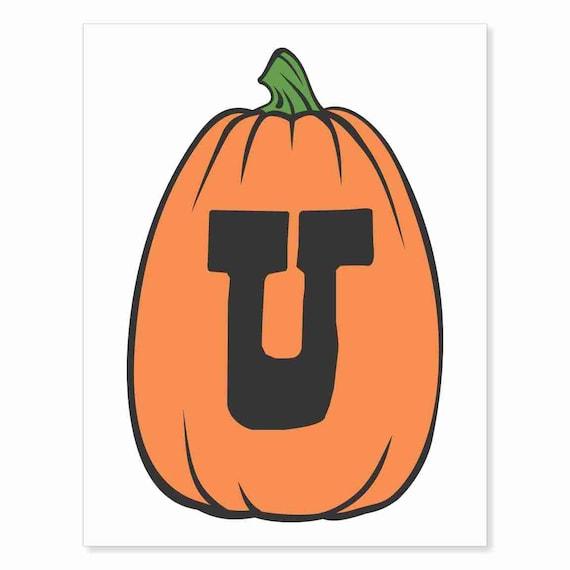 Printable Digital Download DIY - Fall Art Monogram Pumpkin - TALL U - Print frame or cut out for seasonal Halloween decorating orange black