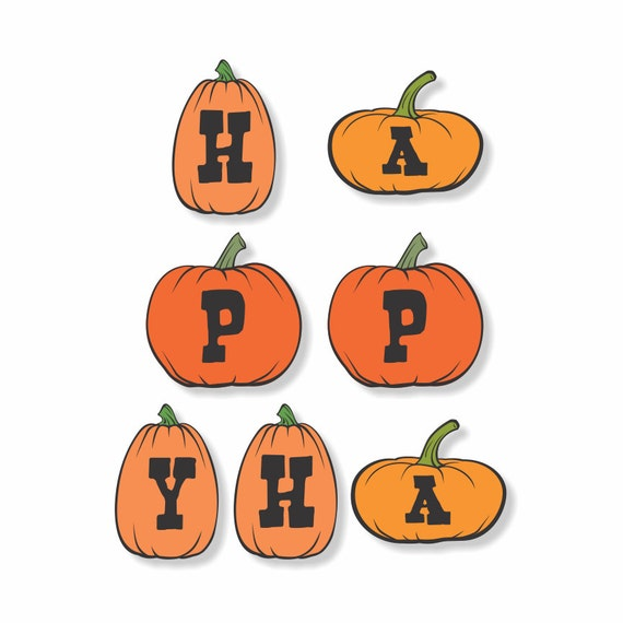 DIY Printable Digital Download - Happy Halloween Lil Pumpkins Garland or Invites - print your own holiday home party decor or invitations