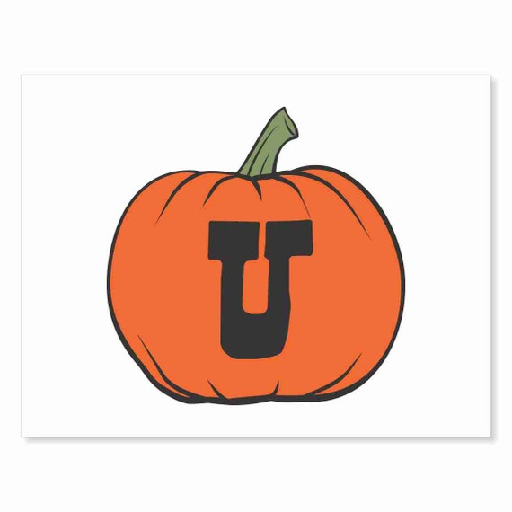 Printable Digital Download DIY - Fall Art Monogram Pumpkin - rOund U - Print frame or cut out for seasonal Halloween decorating orange black