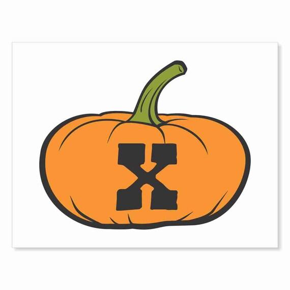Printable Digital Download DIY - Fall Art Monogram Pumpkin - short X - Print frame or cut out for seasonal Halloween decorating orange black