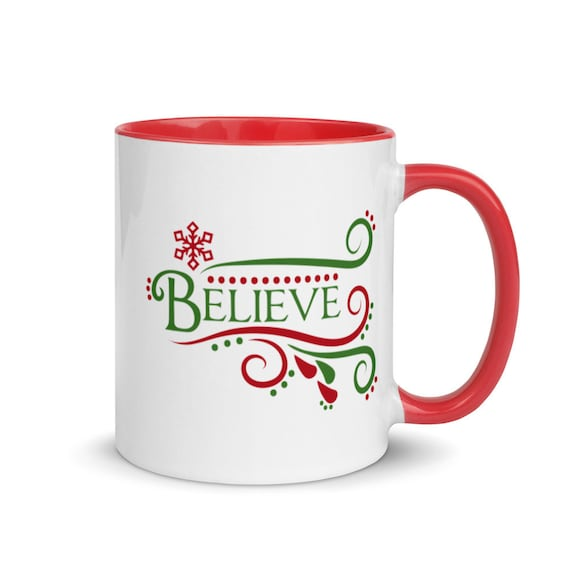 White Glossy Christmas Coffee Mug with 2 Inside Color Choices Seasonal Holiday Secret Santa Work Party Gift - Believe