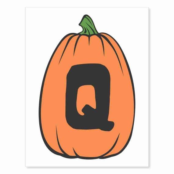 Printable Digital Download DIY - Fall Art Monogram Pumpkin - TALL Q - Print frame or cut out for seasonal Halloween decorating orange black