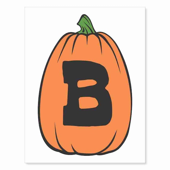 Printable Digital Download DIY - Fall Art Monogram Pumpkin - TALL B - Print frame or cut out for seasonal Halloween decorating orange black