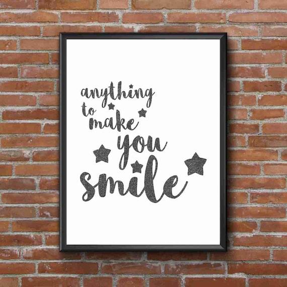 Typography Art Print - Smile, part 2 v1 - 2 of 2 - band of horses song lyrics - glam faux black glitter script fab wall art gift under 25