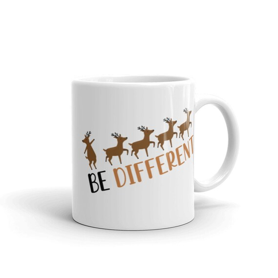 White Glossy Ceramic Christmas Themed Mug 11 oz or 15 oz Reindeer Holiday Gift - Be Different