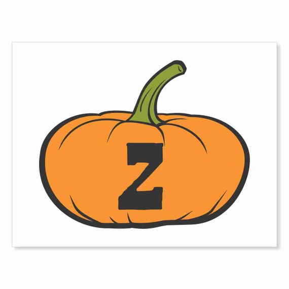 Printable Digital Download DIY - Fall Art Monogram Pumpkin - short Z - Print frame or cut out for seasonal Halloween decorating orange black