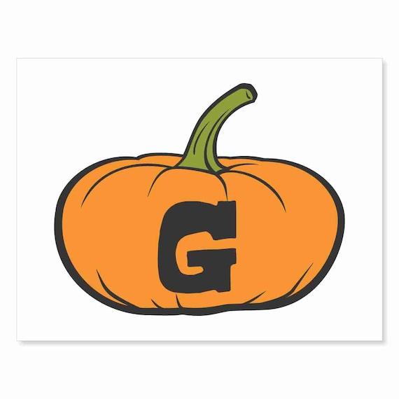 Printable Digital Download DIY - Fall Art Monogram Pumpkin - short G - Print frame or cut out for seasonal Halloween decorating orange black