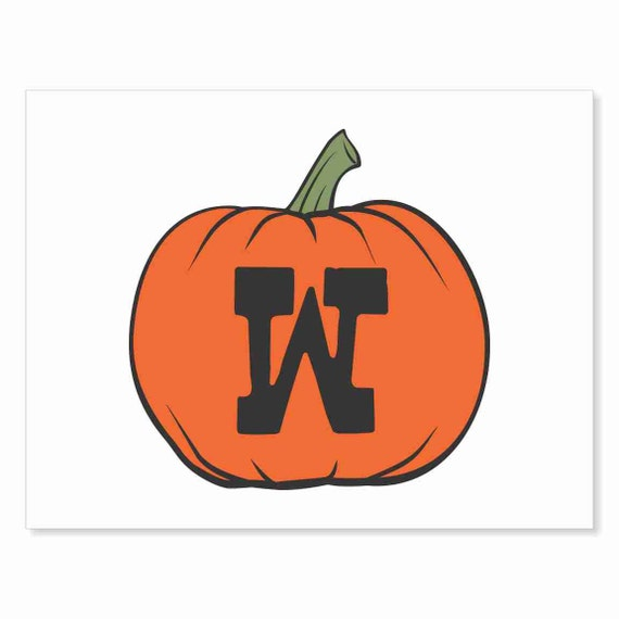 Printable Digital Download DIY - Fall Art Monogram Pumpkin - rOund W - Print frame or cut out for seasonal Halloween decorating orange black