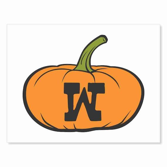 Printable Digital Download DIY - Fall Art Monogram Pumpkin - short W - Print frame or cut out for seasonal Halloween decorating orange black