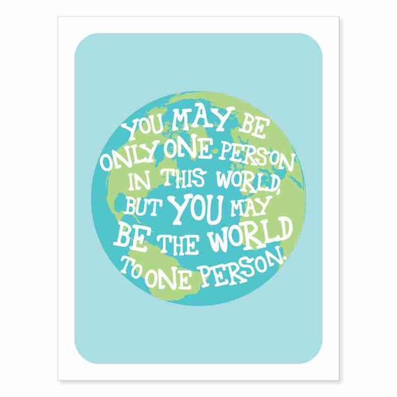 Printable Typography Art Download - One Person In the World  - loving inspirational motivational gift - instant download home decor