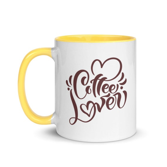 White Ceramic Gloss Mug with 4 Inside Color Choices Calligraphy Hearts Swirls Coffee Gift - Coffee Lover 2