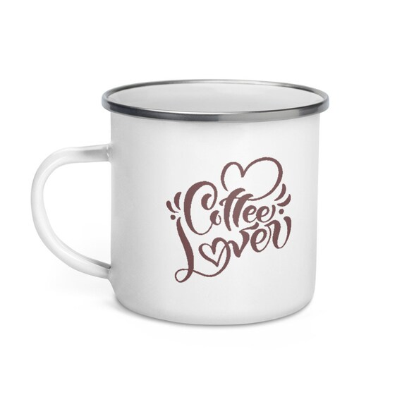White Enamel Camping Mug Silver Rim 12 oz Coffee Brown Calligraphy Script with Hearts - Coffee Lover 2