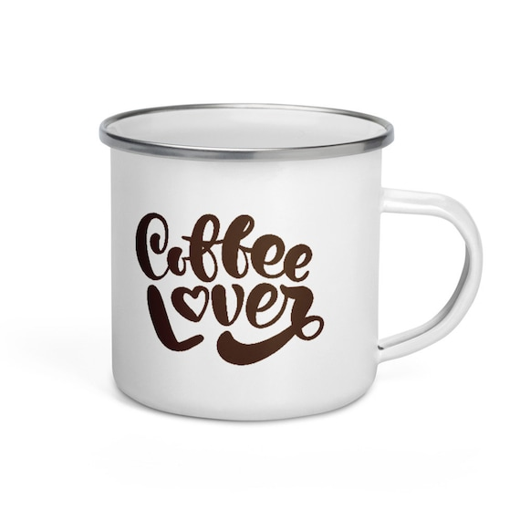 White Enamel Camp Mug Silver Rim 12 oz Coffee Themed Holiday Camping Gift - Coffee Lover 3
