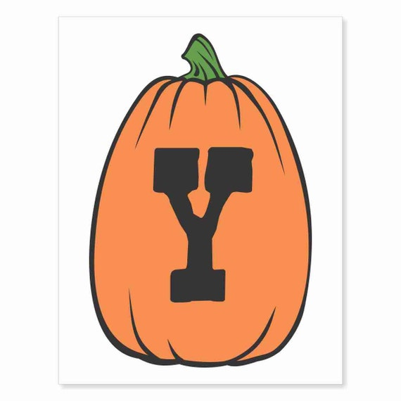 Printable Digital Download DIY - Fall Art Monogram Pumpkin - TALL Y - Print frame or cut out for seasonal Halloween decorating orange black