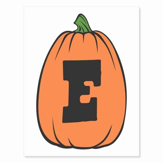 Printable Digital Download DIY - Fall Art Monogram Pumpkin - TALL E - Print frame or cut out for seasonal Halloween decorating orange black