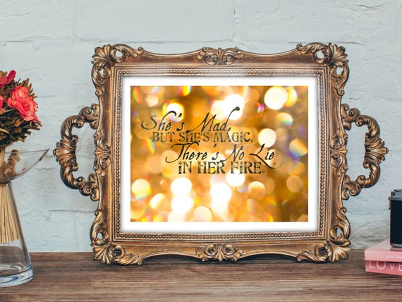 Typography Art Print - Mad But Magic - Charles Bukowski quote poetry wall art gift men women fiery sparkly bokeh black gold fire