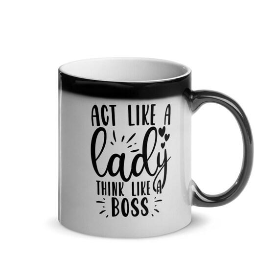 Motivational Boss Gift Black to White Glossy Magic Mug 11 oz color changing - Lady Boss