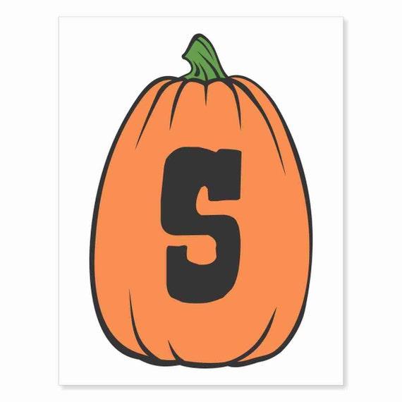 Printable Digital Download DIY - Fall Art Monogram Pumpkin - TALL S - Print frame or cut out for seasonal Halloween decorating orange black
