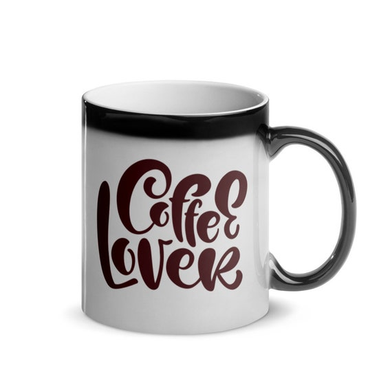 Gloss Ceramic Black to White Heat Color Changing Magic Mug 11 oz Coffee Holiday Gift - Coffee Lover