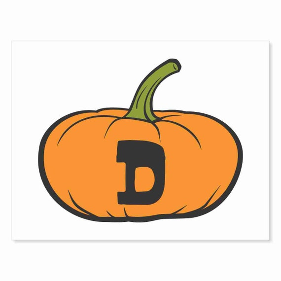 Printable Digital Download DIY - Fall Art Monogram Pumpkin - short D - Print frame or cut out for seasonal Halloween decorating orange black