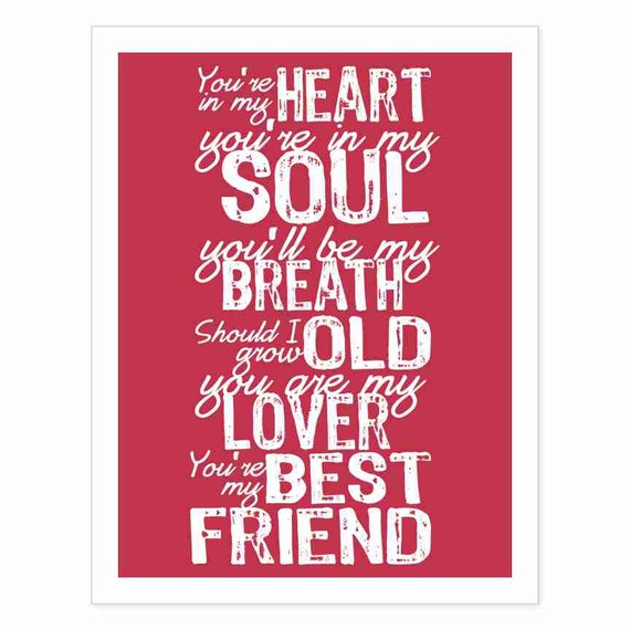 Typography Art Print - You're In My Soul v5 - marriage wedding song lyrics anniversary romantic white red modern