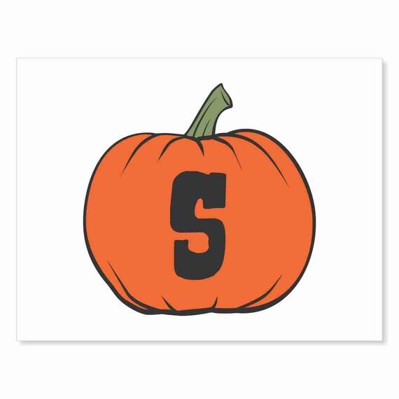 Printable Digital Download DIY - Fall Art Monogram Pumpkin - rOund S - Print frame or cut out for seasonal Halloween decorating orange black