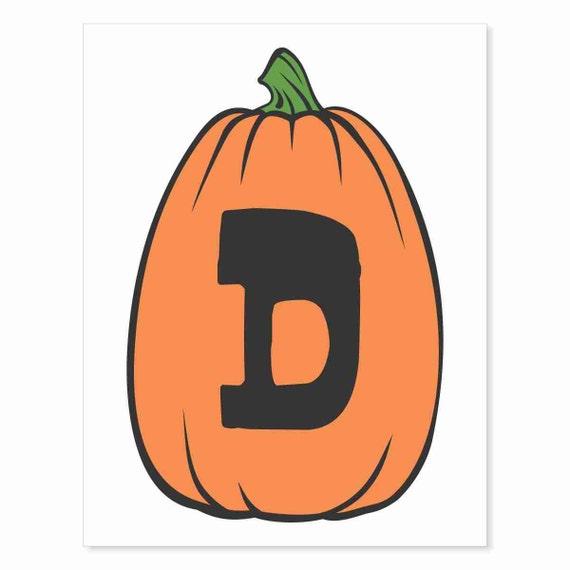 Printable Digital Download DIY - Fall Art Monogram Pumpkin - TALL D - Print frame or cut out for seasonal Halloween decorating orange black