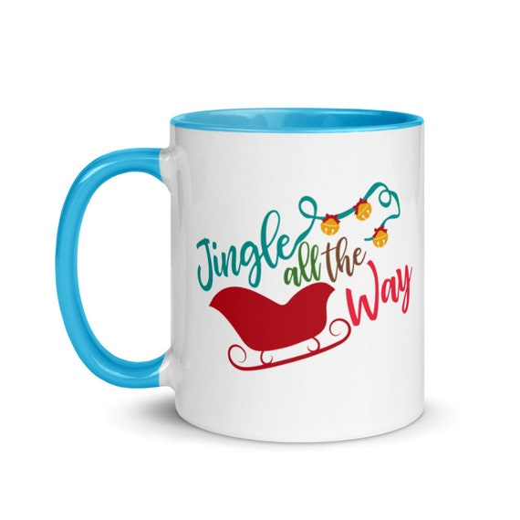 White Christmas Sleigh Mug with Choice of 4 Colors Inside Glossy 11 oz Holiday Gift Coffee Cup - Jingle All the Way
