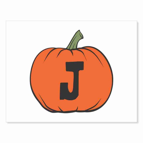 Printable Digital Download DIY - Fall Art Monogram Pumpkin - rOund J - Print frame or cut out for seasonal Halloween decorating orange black