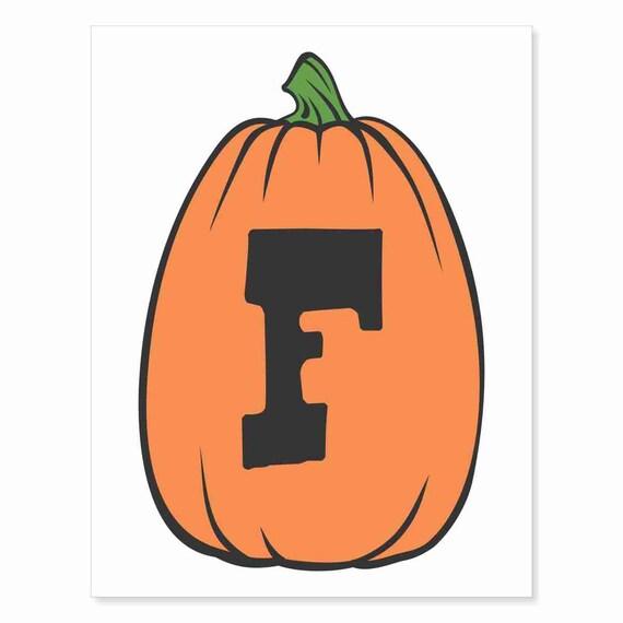 Printable Digital Download DIY - Fall Art Monogram Pumpkin - TALL F - Print frame or cut out for seasonal Halloween decorating orange black