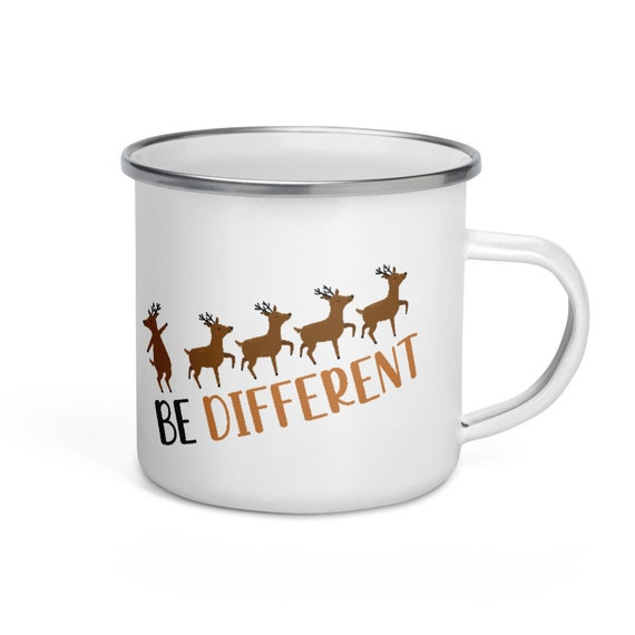 Reindeer Camping Mug White Enamel Silver Rim 12 oz Christmas Holiday Gift - Be Different