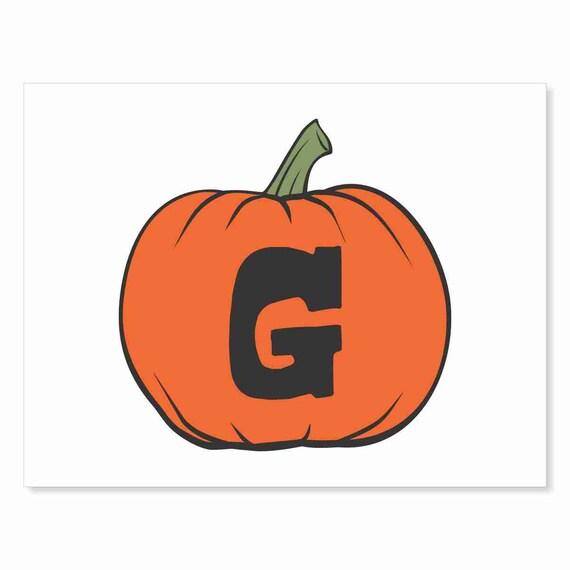 Printable Digital Download DIY - Fall Art Monogram Pumpkin - rOund G - Print frame or cut out for seasonal Halloween decorating orange black