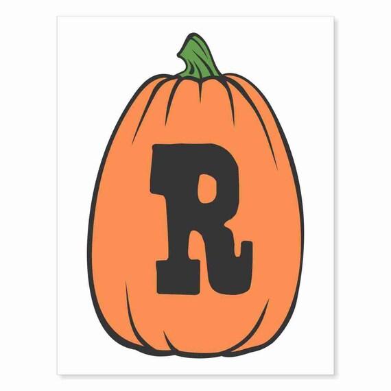 Printable Digital Download DIY - Fall Art Monogram Pumpkin - TALL R - Print frame or cut out for seasonal Halloween decorating orange black