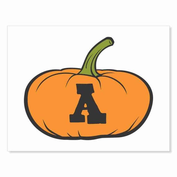 Printable Digital Download DIY - Fall Art Monogram Pumpkin - short A - Print frame or cut out for seasonal Halloween decorating orange black