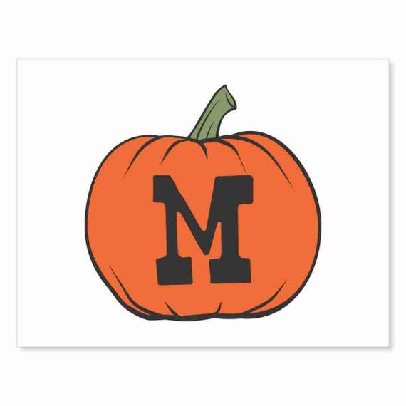 Printable Digital Download DIY - Fall Art Monogram Pumpkin - rOund M - Print frame or cut out for seasonal Halloween decorating orange black