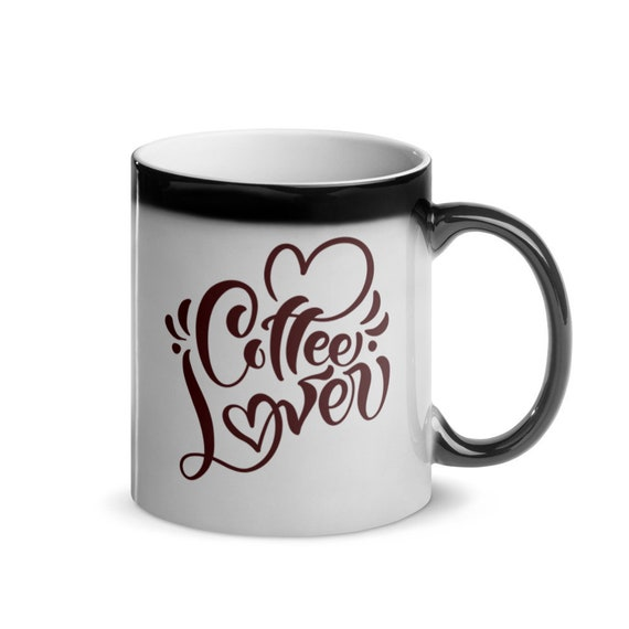 Glossy Ceramic Black to White Color Changing Heat Magic Mug 11 oz Calligraphy Gift - Coffee Lover 2
