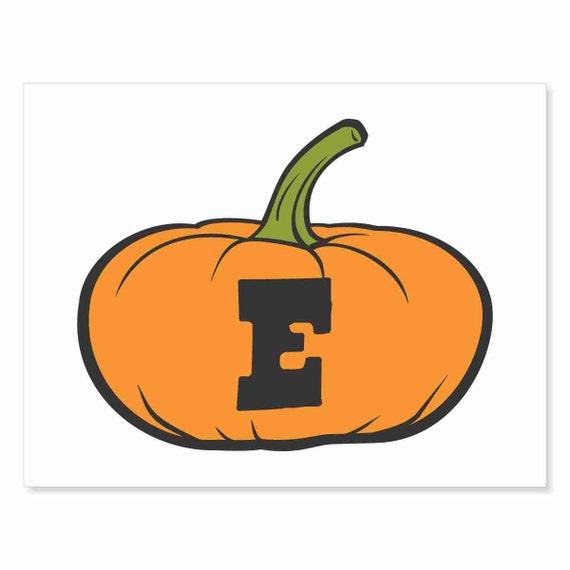 Printable Digital Download DIY - Fall Art Monogram Pumpkin - short E - Print frame or cut out for seasonal Halloween decorating orange black