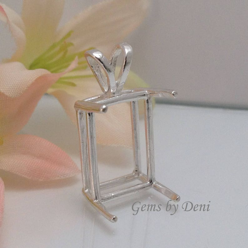 Sterling Silver Emerald Pendant Setting 5x3mm to 30x22mm 161020