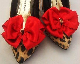 490e30fc3dc Pair Red and Leopard Skin Satin Bows for Shoes Pinup Burlesque Kitsch ShOe  CliPs By Seriously Sassyx