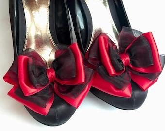 109a0e3f85a6 Black Shoe Clips Red Satin Organza Bow Shoe Clips 10cm Bridal Shoes Formal  Shoes