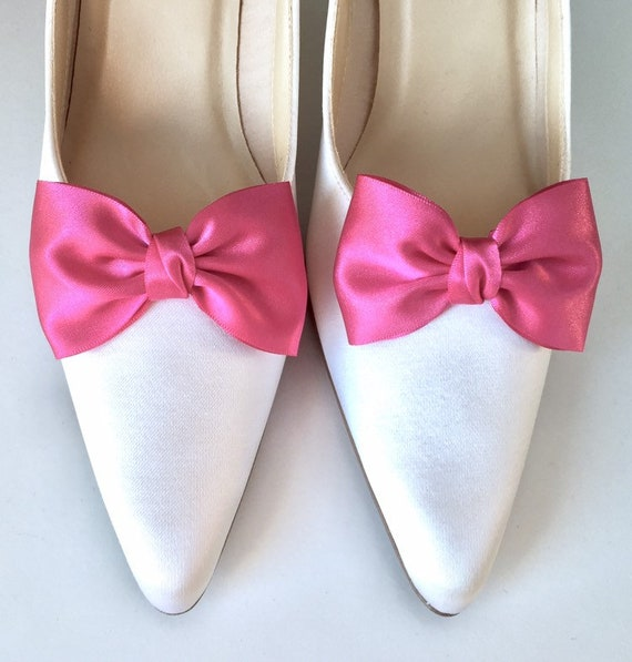 d3217a0d0d2 Shoe Clips Bridal Shoe Clips Fuschia Pink Satin Bow Wedding Shoe Clips Many  Colors by Seriously Sassyx