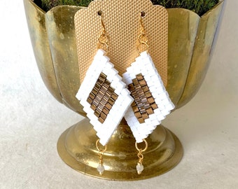 White, Gold & Bronze Beaded Dangle Diamond Earrings with Crystal Accent