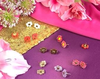 Colorful Beaded Flower Stud Earrings