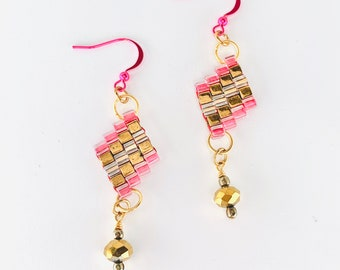 Pink & Gold Dangle Diamond Drop Beaded Earrings with Pyrite Accent