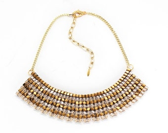 Bronze & Gold Beaded Circle Necklace - In Stock!