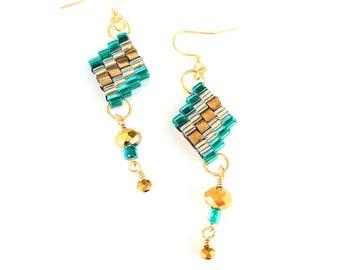 Teal & Gold Dangle Diamond Beaded Earrings - one of a kind design