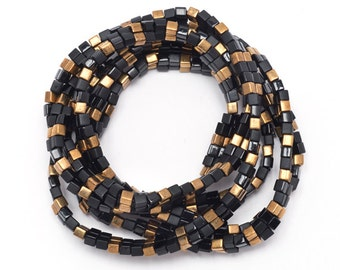 """50"""" Long Single Strand Necklace in Black & Gold"""